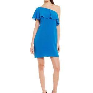 Maggy London•Blue Crepe One Shoulder Party Dress